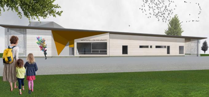 Arkkitehtuuritoimisto Ovaskainen Oy toteuttaa Hovinpellon päiväkotia yhdessä KVR-urakoitsija Karjalan Rakennus ja Maalaus Oy:nkanssa